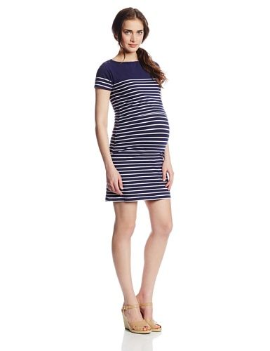 dee467522e5e8 JoJo Maman Bebe Womens Maternity Breton Striped Nursing Dress Navy White  Stripe Small -- Details can be found by clicking on the image.