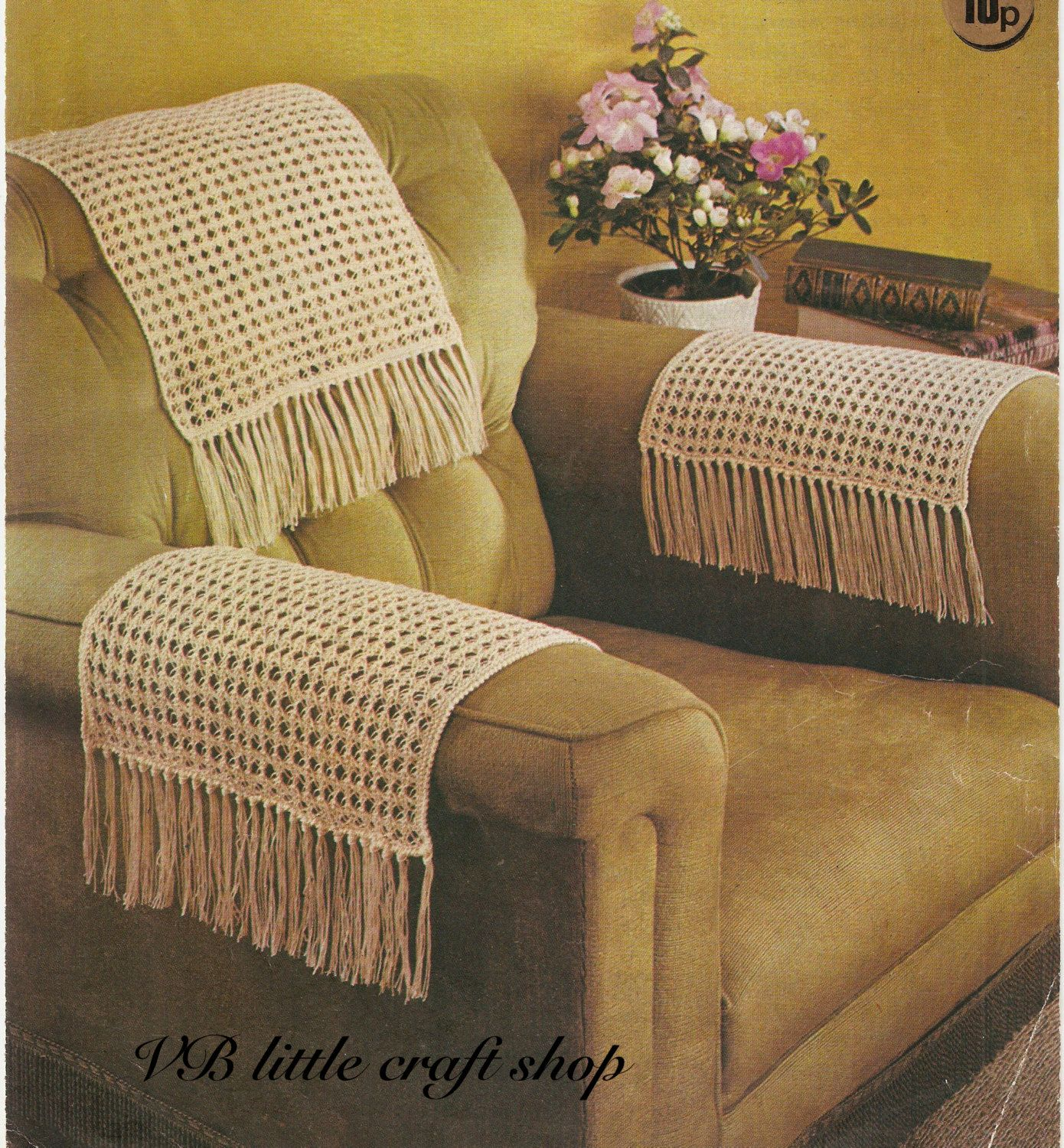 Chairback and chair arms covers knitting pattern Instant PDF