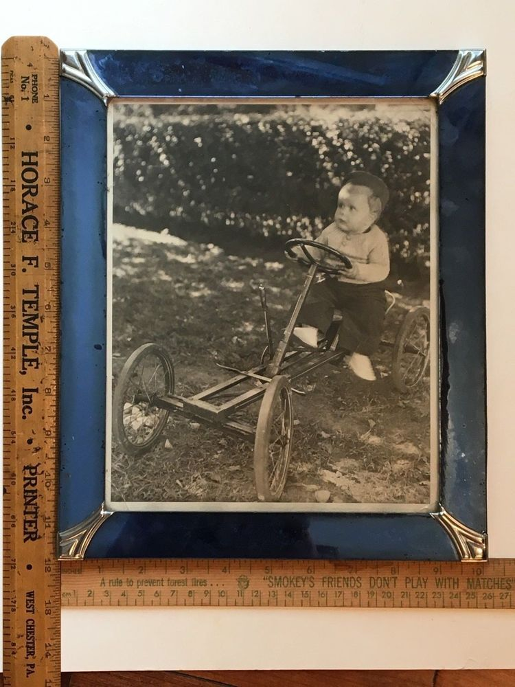 Art Deco Blue Glass Picture Frame With 8 X 10 Inch Old Photo Of Boy On Pedal Car Artdeco Columbia Art Deco Blue Glass Picture Frames