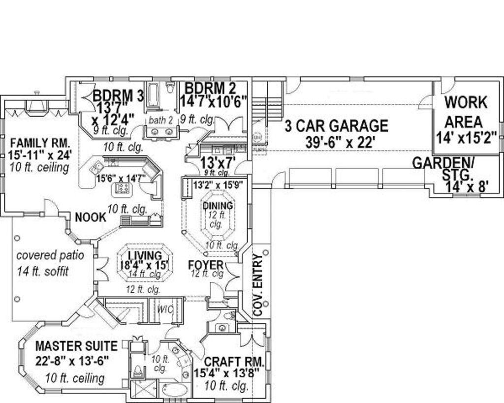 Mediterranean Style House Plan 3 Beds 2 50 Baths 3202 Sq