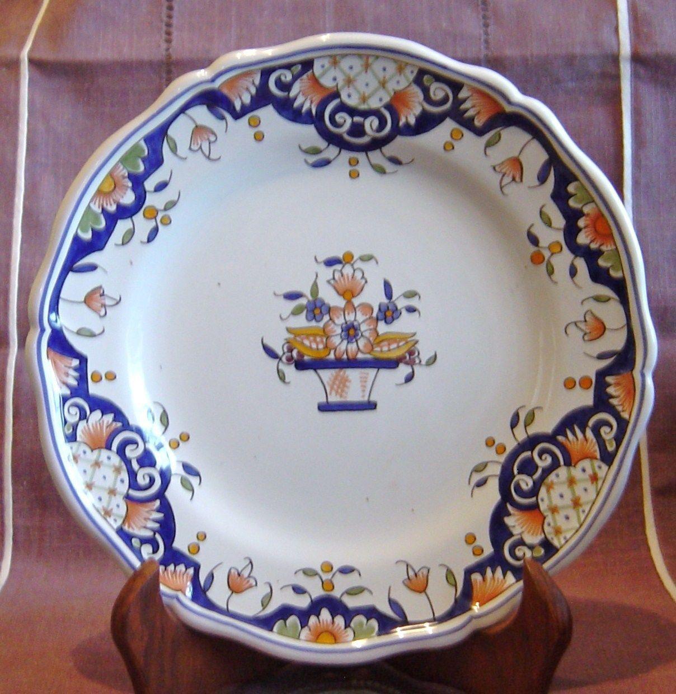 Fa ence de rouen assiette decorative a suspendre fait a la main ebay assiette d corative for Peinture sur faience