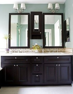 Neutral Blue Paint Espresso Cabinets Light Counters But What - Espresso bathroom floor cabinet for bathroom decor ideas