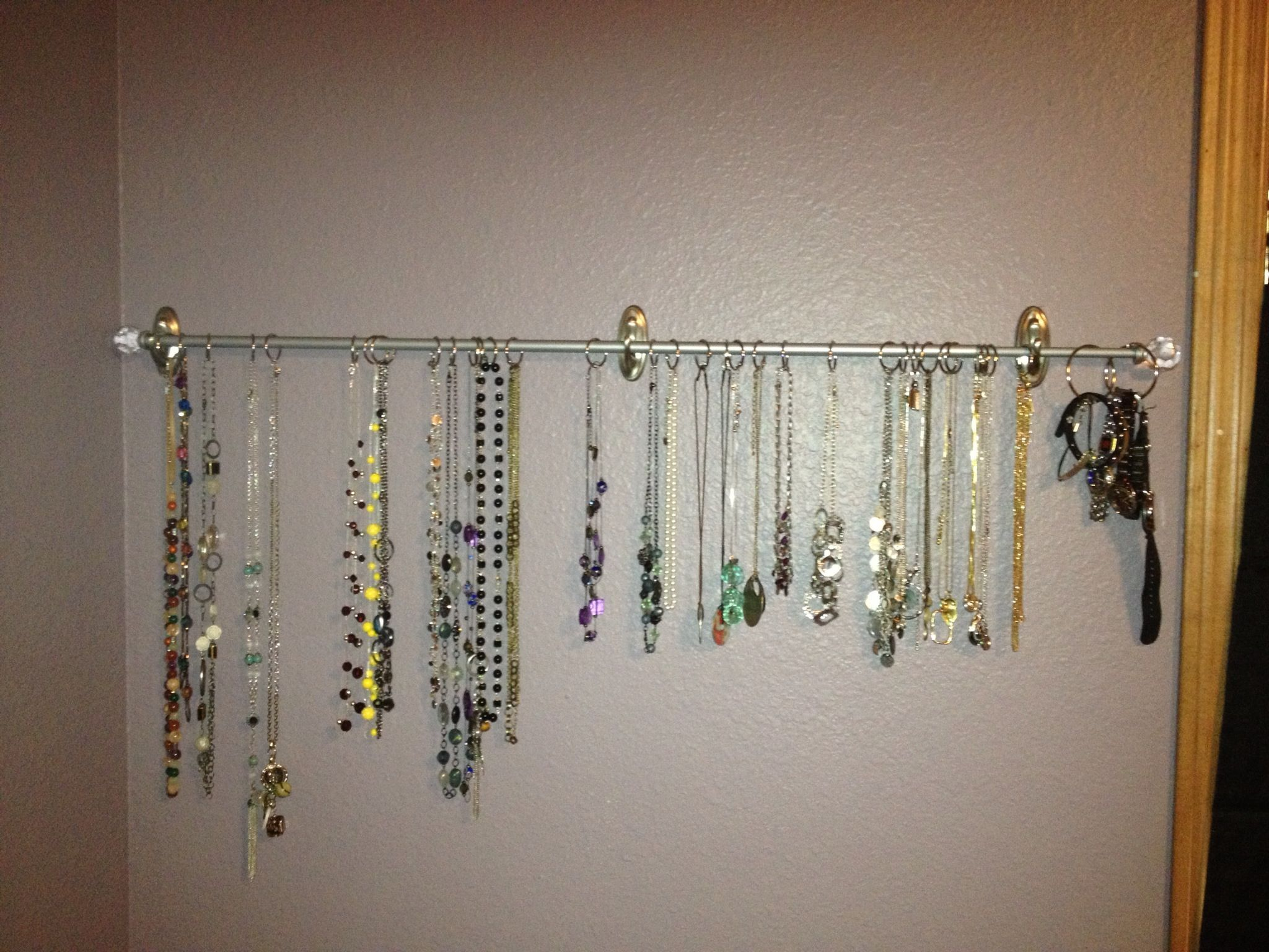 Jewelry Holder 3m Command Hooks Holding A Curtain Rod 1in Binder