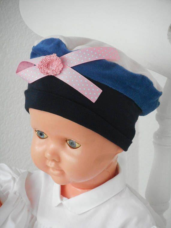 Hat beret Hat baby girl birth linen gift   eva kids pink and blue ... c3b429357c4