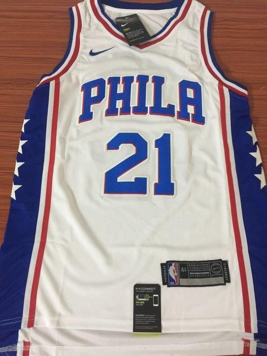 premium selection b923a 7e478 Men 21 Joel Embiid Jersey White Philadelphia 76ers Swingman ...