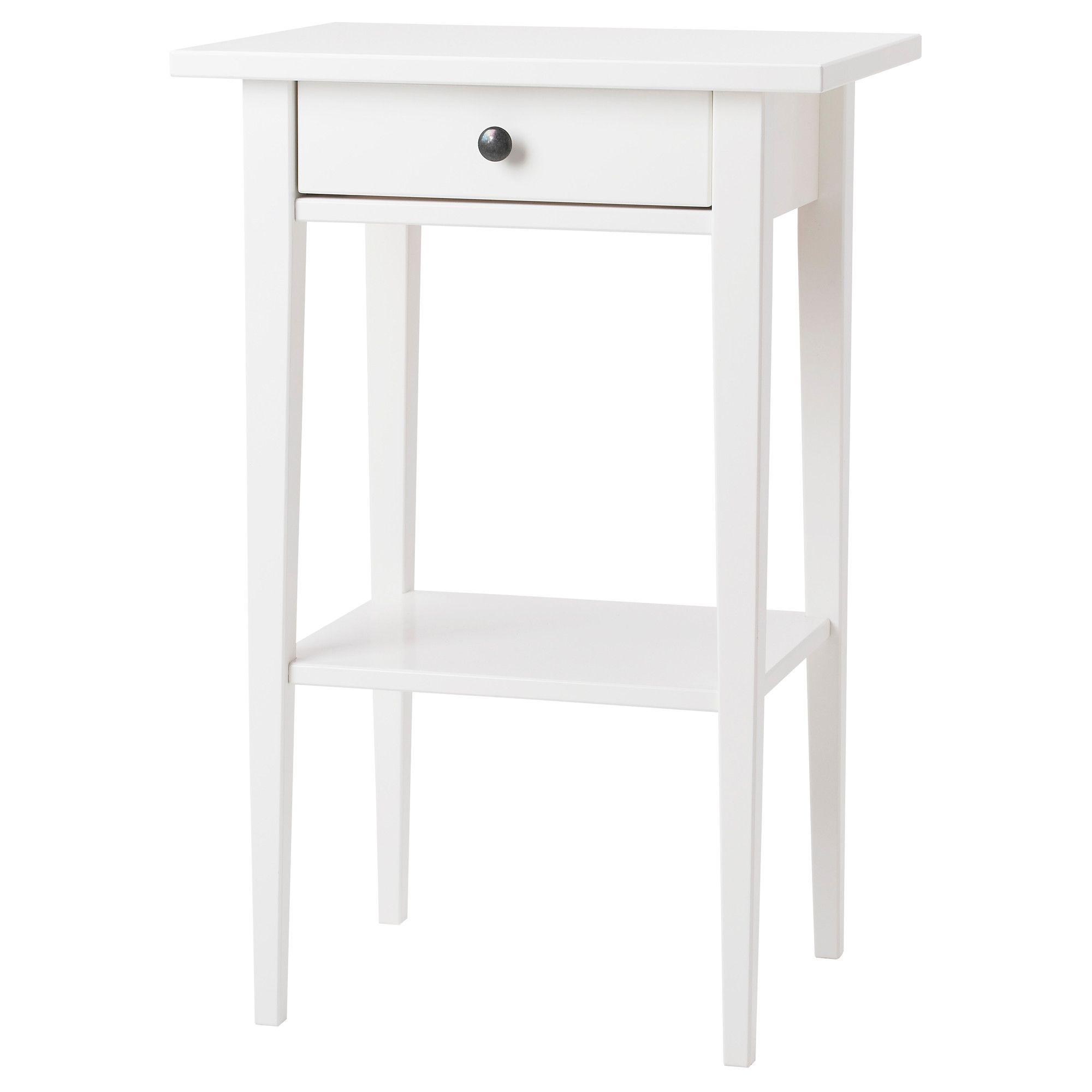 Hemnes Table De Chevet Teinté Blanc Ikea Idées Pour