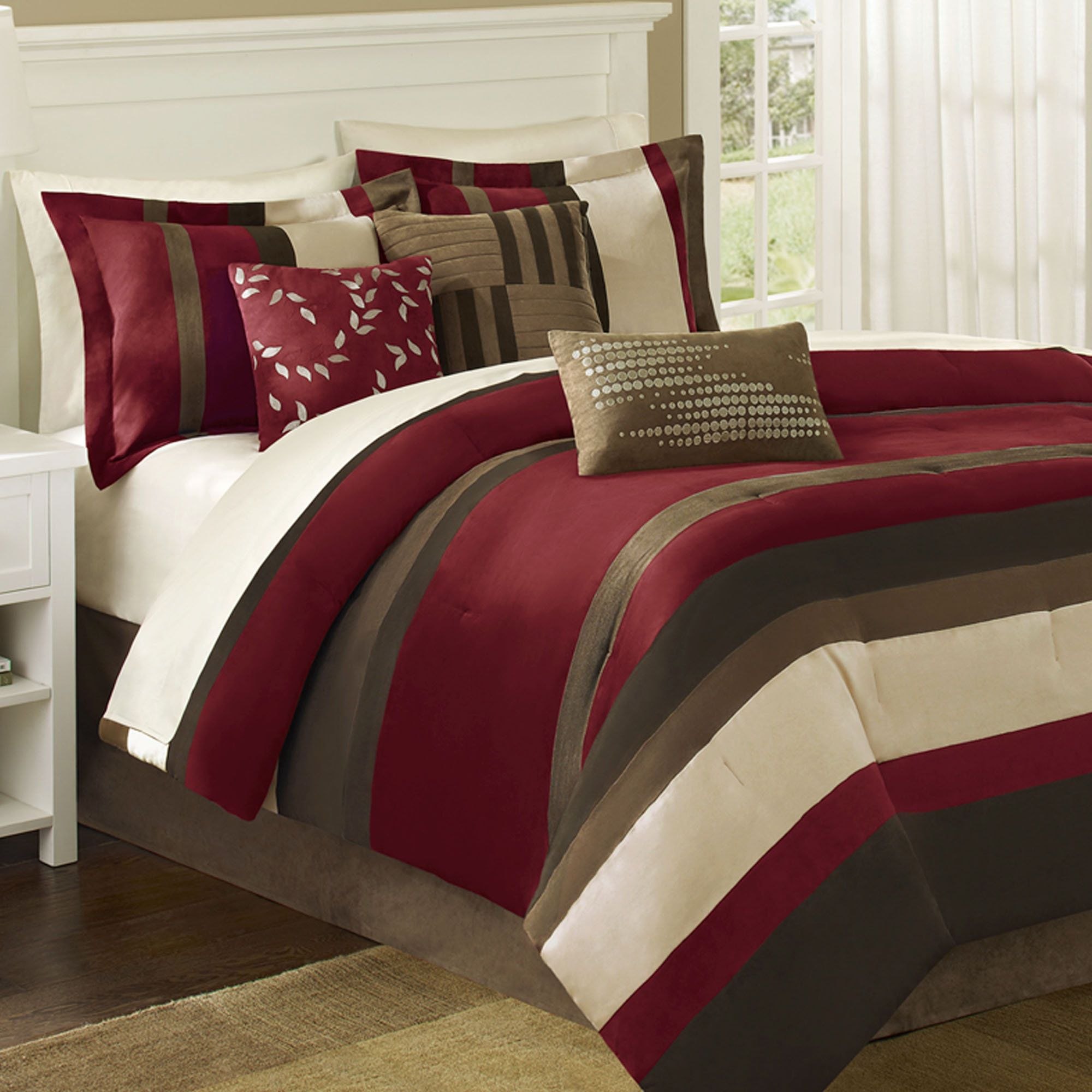 dark bed p bedding set red queen comforter lorenza velvet medallion