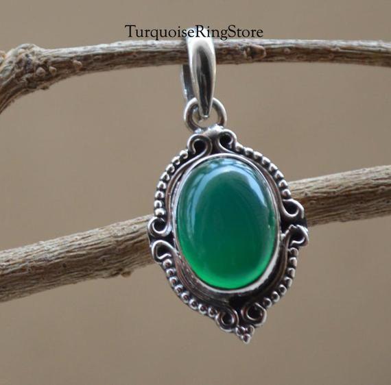 Green Onyx Pendant, Handmade Pendant, Gemstone Pen