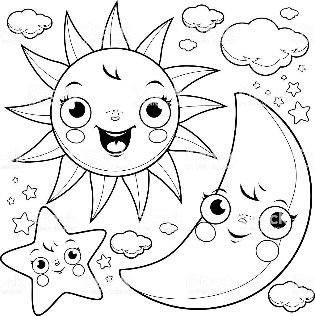 Pin By Erin Ferrier On Coloring Star Coloring Pages Moon