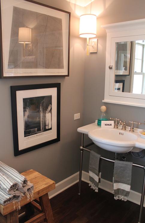 White And Gray Bathroom Transitional Bathroom Brown Design Bathroom Wall Colors Wood Floor Bathroom Small Apartment Bathroom