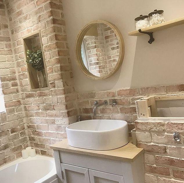 faux brick walls image by natalie hall on bath ideas oak on brick wall id=90989