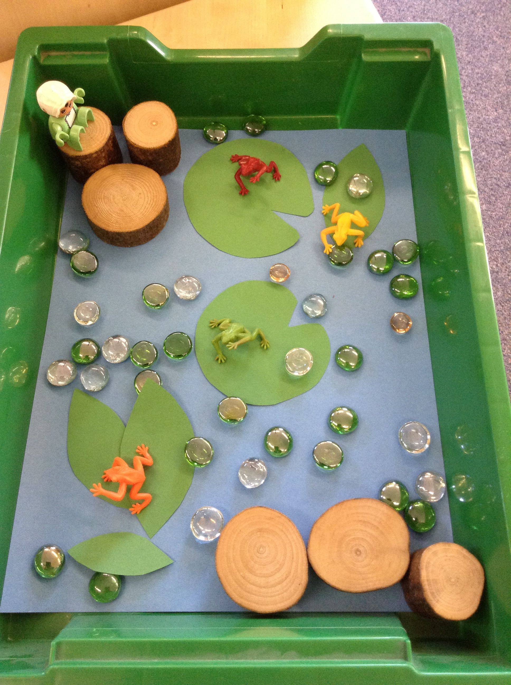 Small world pond and frogs from panini head eyfs for Small frog pond ideas