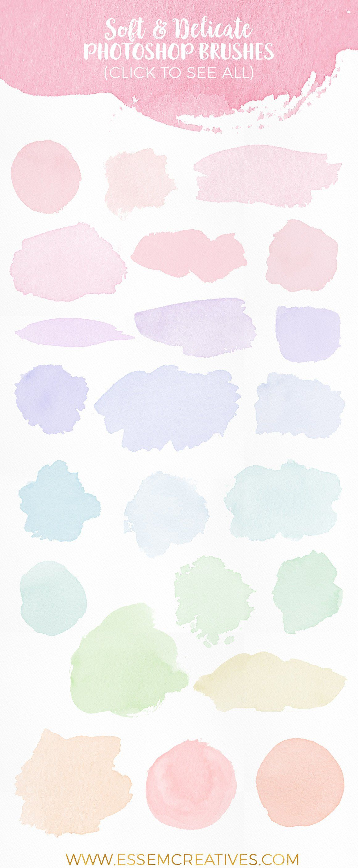 Watercolor Brushes For Photoshop Feminine Watercolor Logo