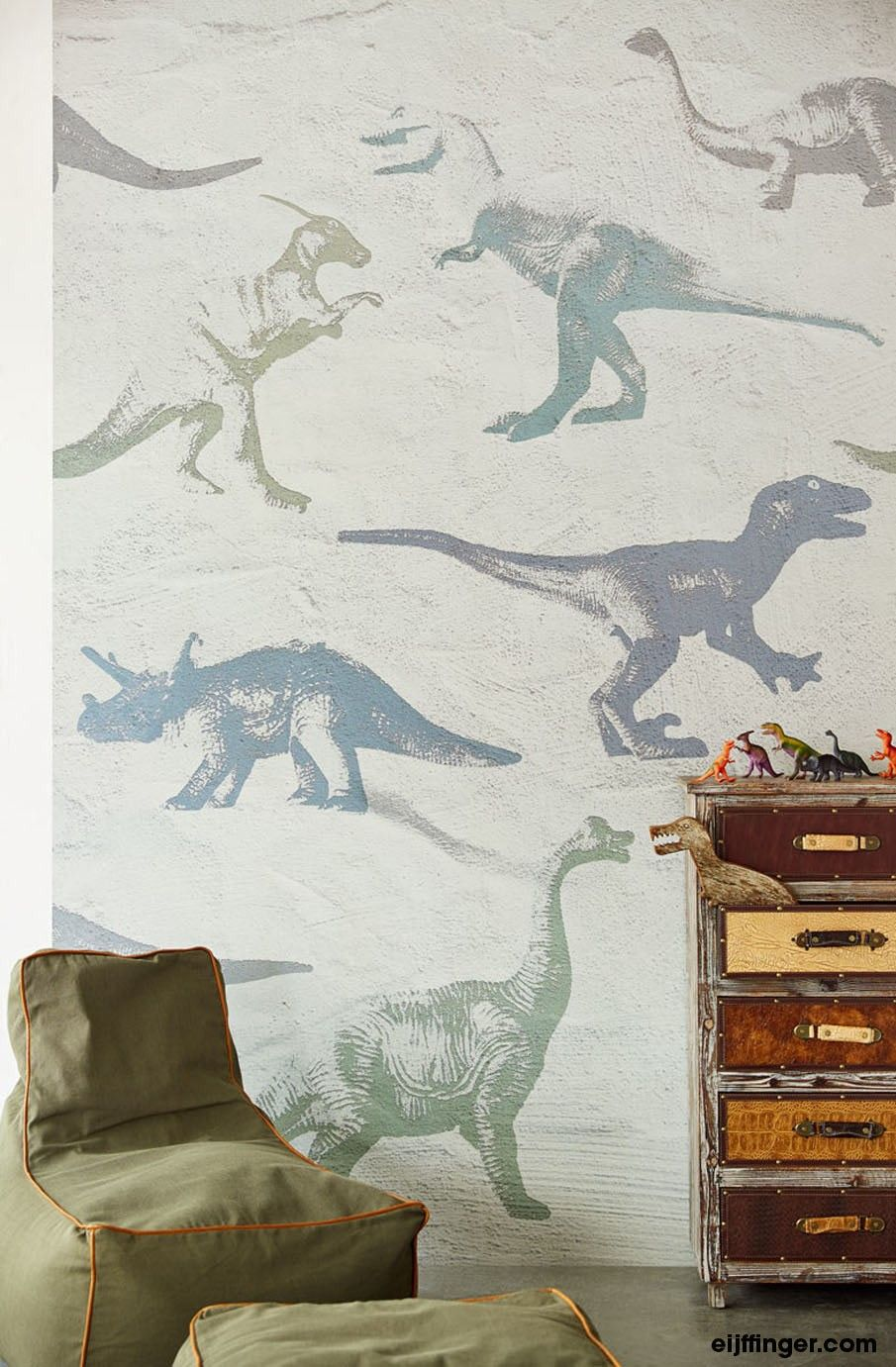 Eijffinger Wallpower Junior - Dino Fossils Grey Fotobehang