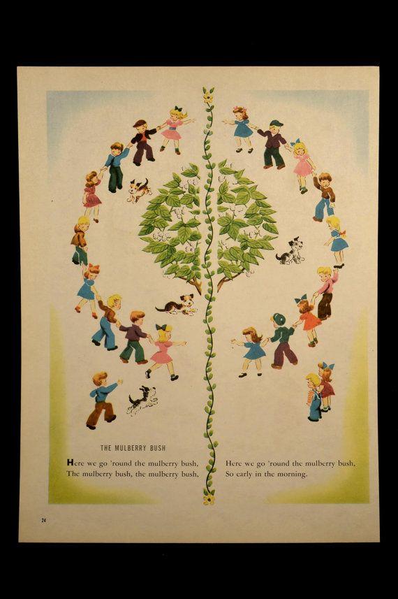 Nursery Rhyme Wall Art The Mulberry Bush Hanging Decor | Nursery
