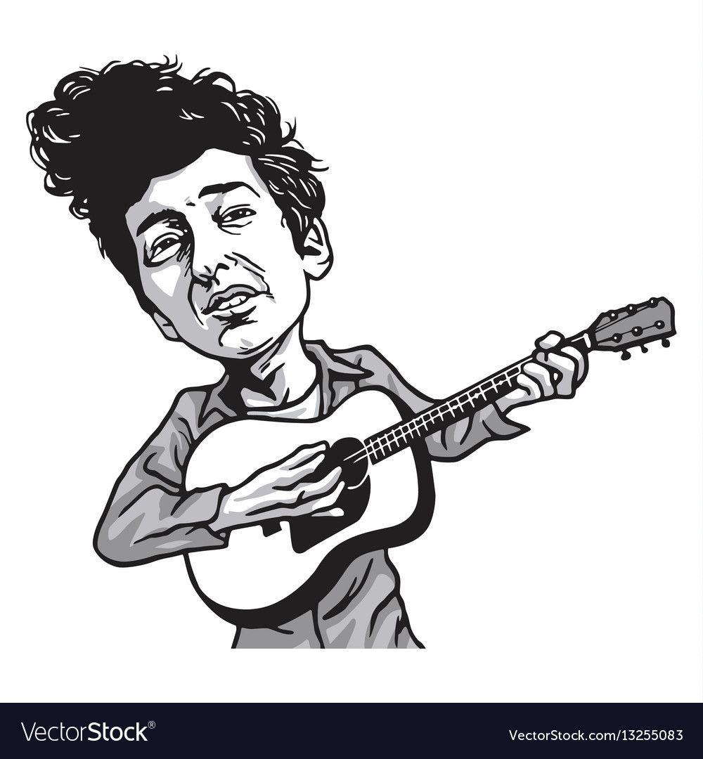 Bob Dylan Cartoon Playing Guitar Black And White Vector Image Sponsored Cartoon Playing Bob Dylan Caricature Vector Character Design Playing Guitar