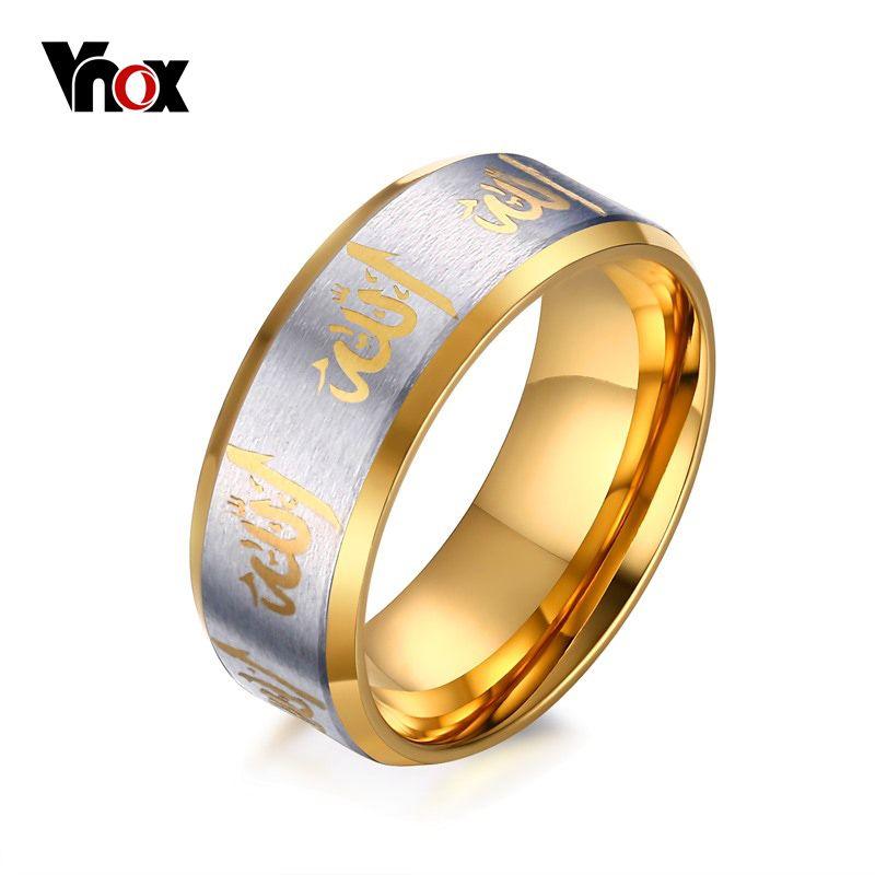 Vnox allah gebet ringe männer schmuck schwarz gold-farbe arabisch ...