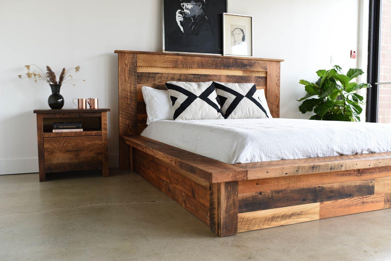 Reclaimed Wood Platform Bed Wood platform bed, Bed decor