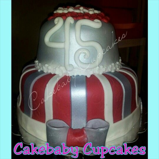 2 tier custom cake for a 45th Birthday Bottom Tier Red Velvet Top