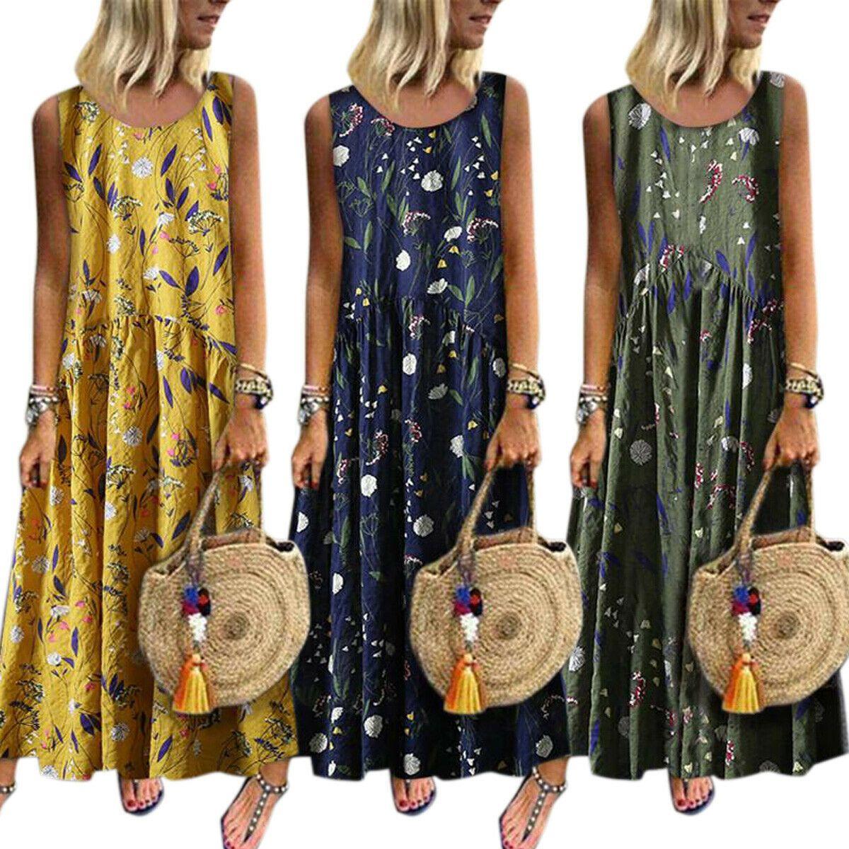 damen boho lang sommerkleid strandkleid freizeitkleid