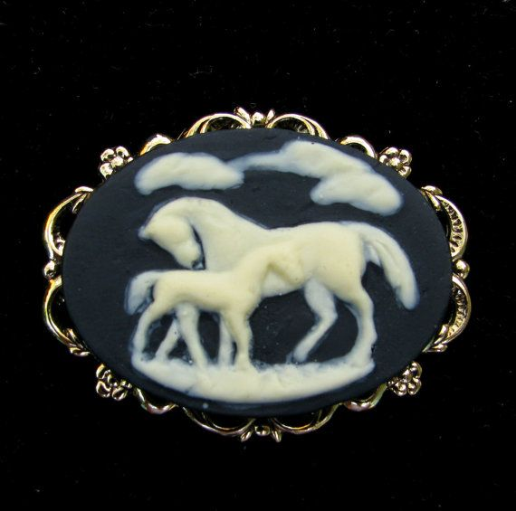 Cameo Brooch or Pendant Mare and Foal Arabian Horse Black and Creme on Etsy, $14.50