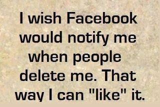 "I wish Facebook would notify me when people delete me. That way I can ""like"" it."