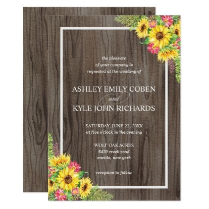 sunflower wedding invitation with wood background sunflower