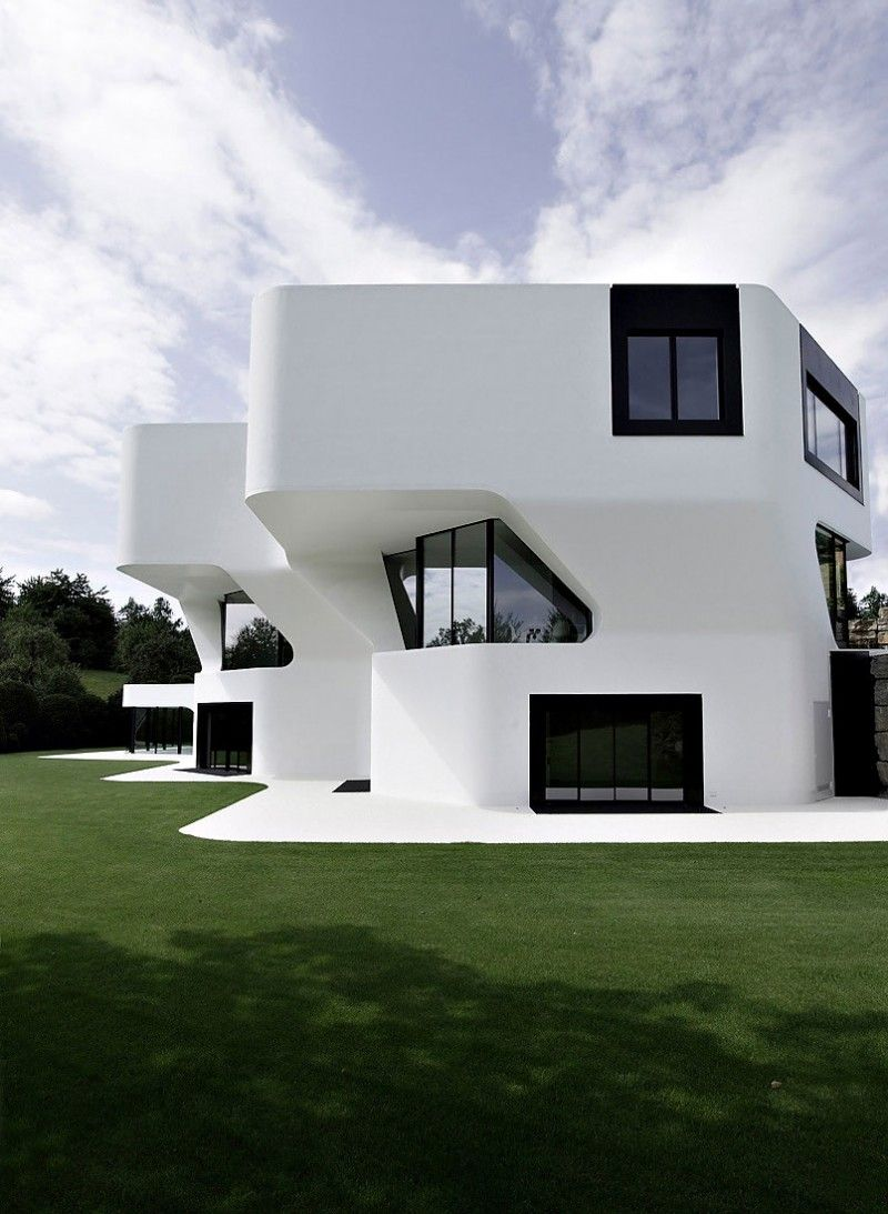 Architecture, Dupli Casa Black Frame Window Glass Window White Wall: Fascinating Contemporary Home Décor in Minimalist Shade