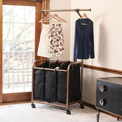 3 Bag Laundry Sorter With Clothes Rack Copper Commercial Grade Rolling Warm Textured Finish And Extendable Garment