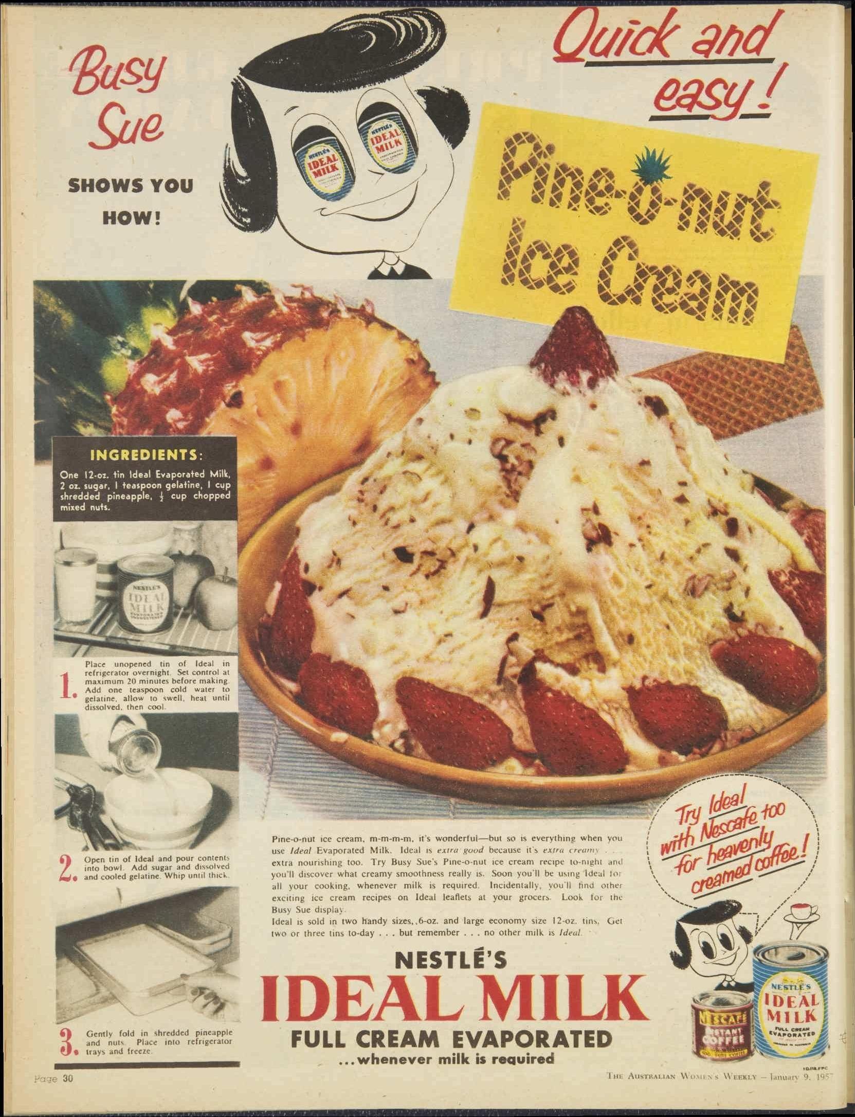 Vintage 50s Nestle Ideal Milk Advertisement  Pineonut Ice Cream Recipe  1957