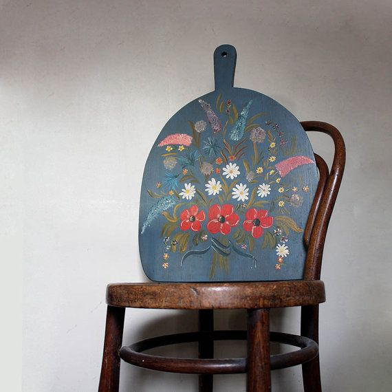 Extra Large vintage hand painted chopping board. by ProjectSarafan