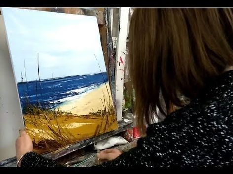 Tuto Peinture Au Couteau Et Sac Plastique Le Lac De Montagne
