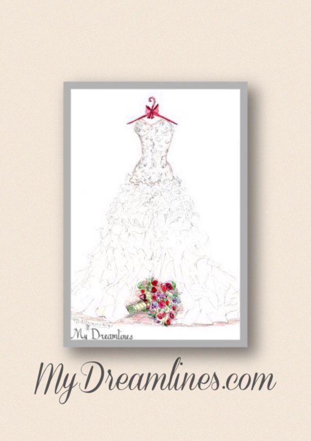 Bride Gift From Groom Dreamlines Wedding Dress Sketch Grooms