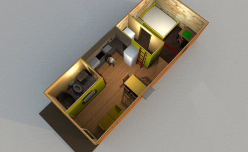 cabin render (12x32) | Shed to tiny house, Tiny house ...