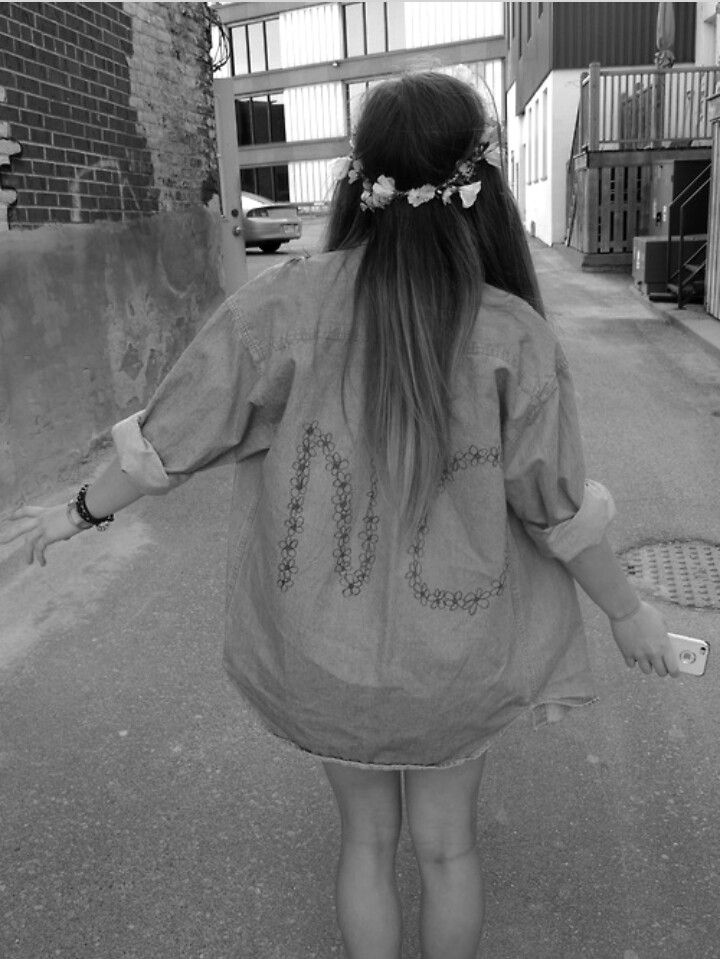 Fashion hipster flower crown flowers flowerpower denim jacket