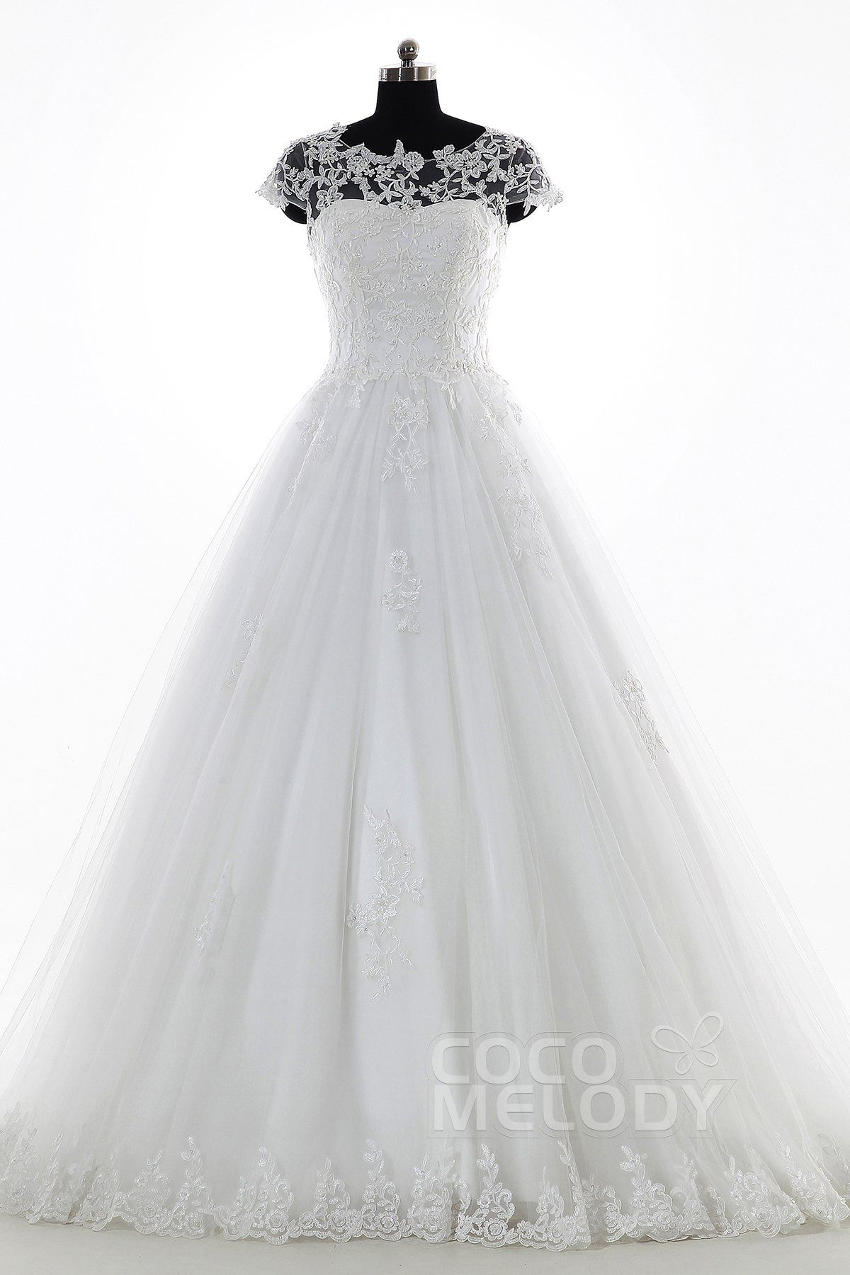 Perfect A-Line Illusion Natural Court Train Tulle and Lace Ivory Cap ...