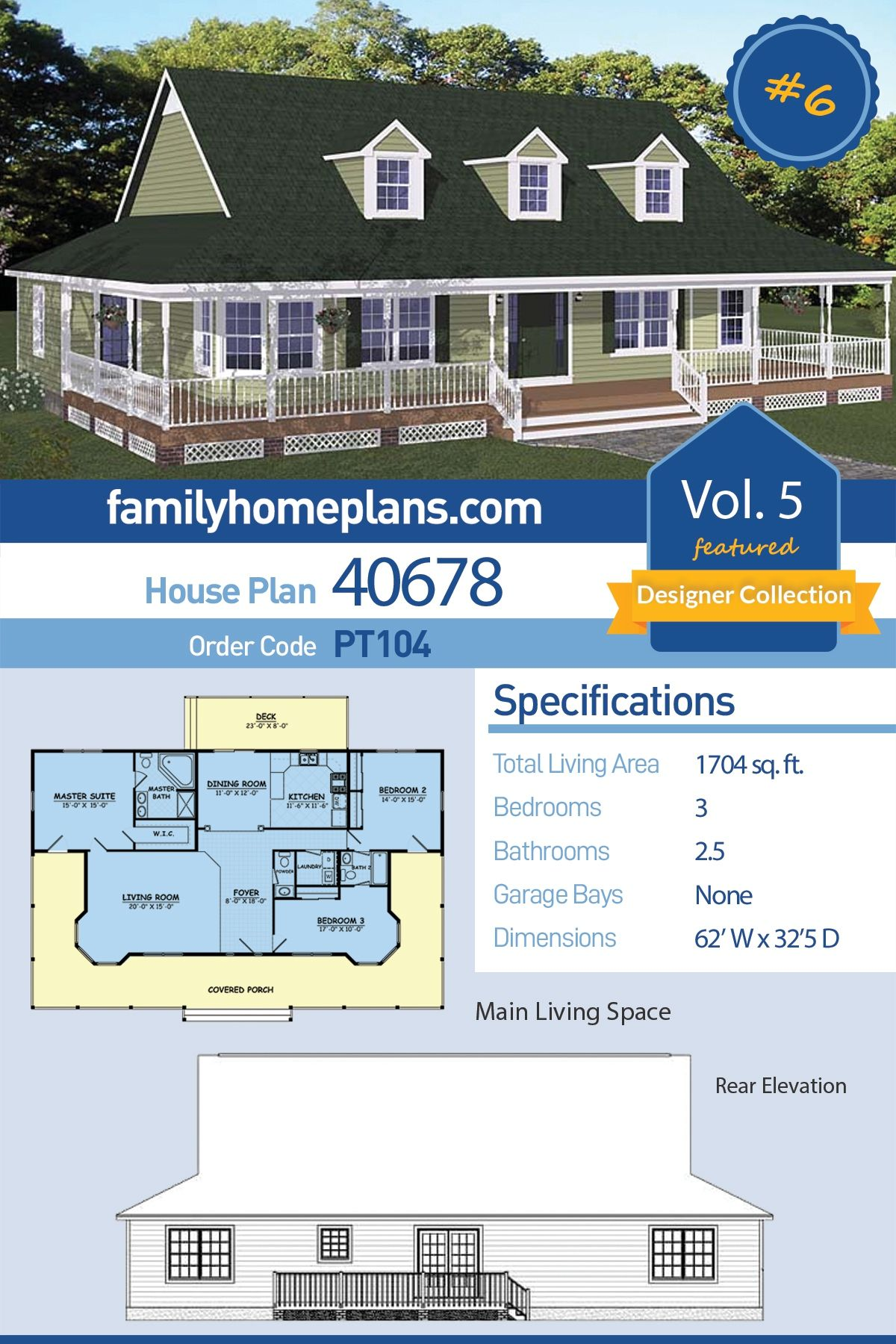 Southern Style House Plan 40678 with 3 Bed, 3 Bath in 2020