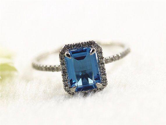Emerald Cut 6x8mm Blue Topaz Ring 14k White Gold Engagement Rings/Topaz Engagement Ring/Topaz Ring/Wedding Rings/Gemstone Ring
