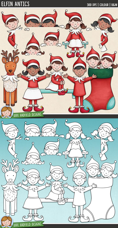 "Christmas Elf Clip Art 2 ""Elfin Antics"" в 2020 г"