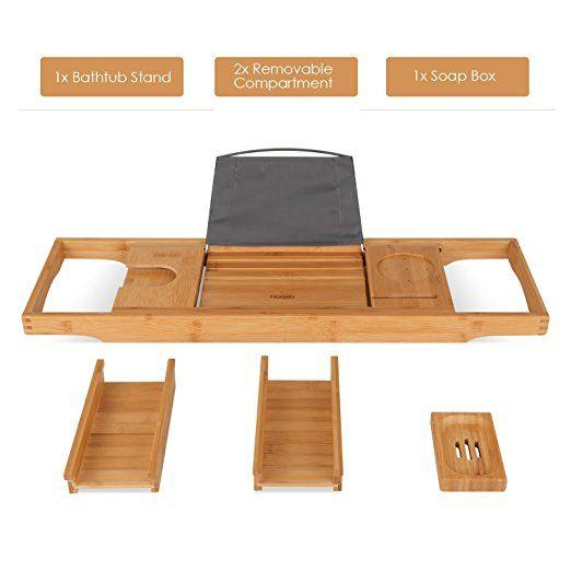 Amazon.com: HOMFA Bamboo Bathtub Tray Bath Table Adjustable Caddy ...