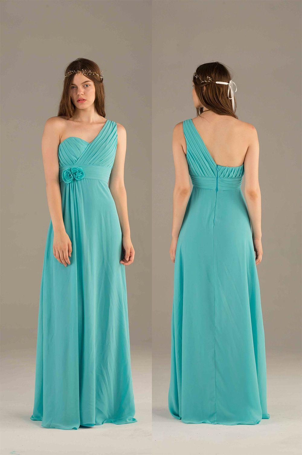 Turquoise bridesmaid dress long chiffon prom dress blue one