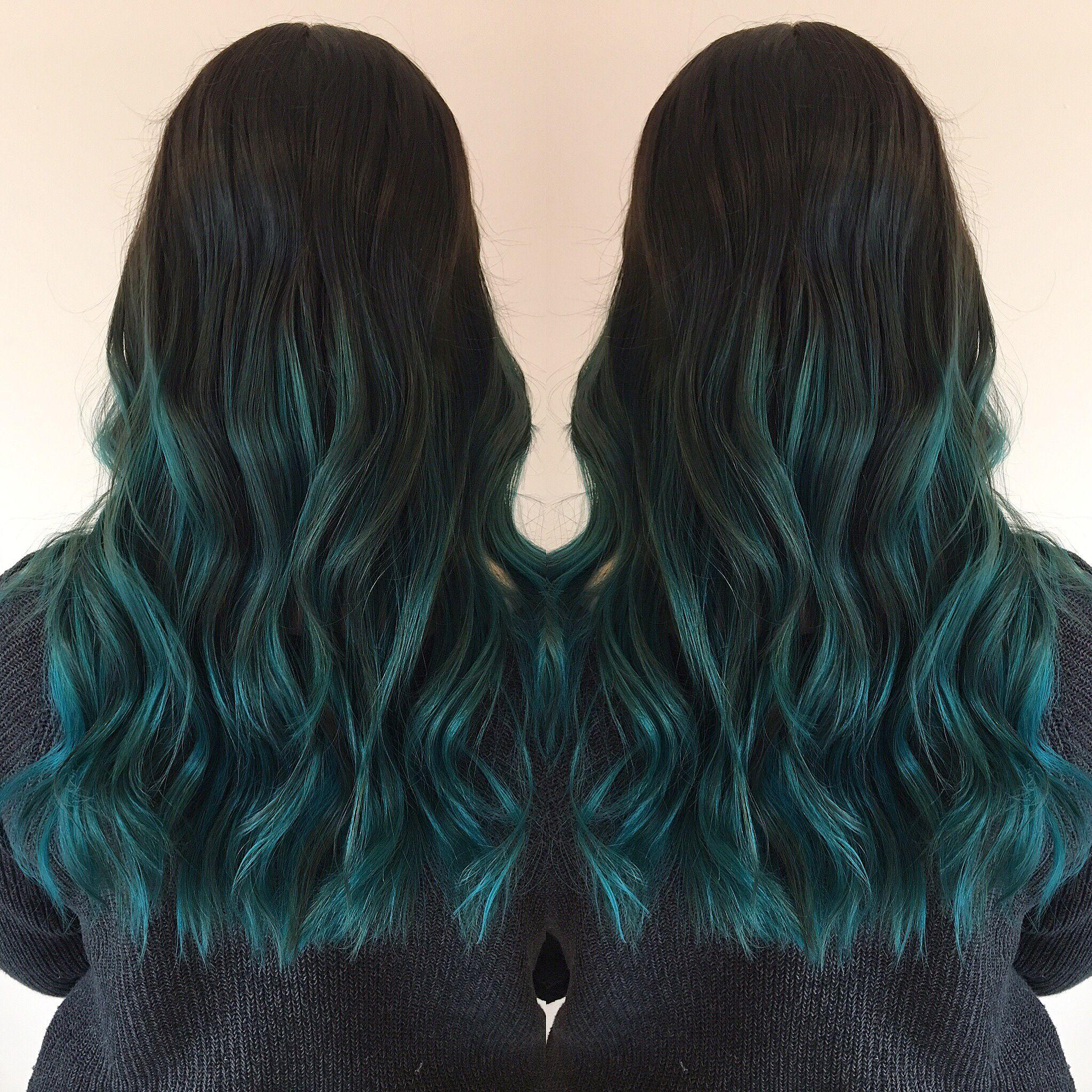 Blue Hair Balayage Haircut Hair Style Ombre Pravana Joico Teal