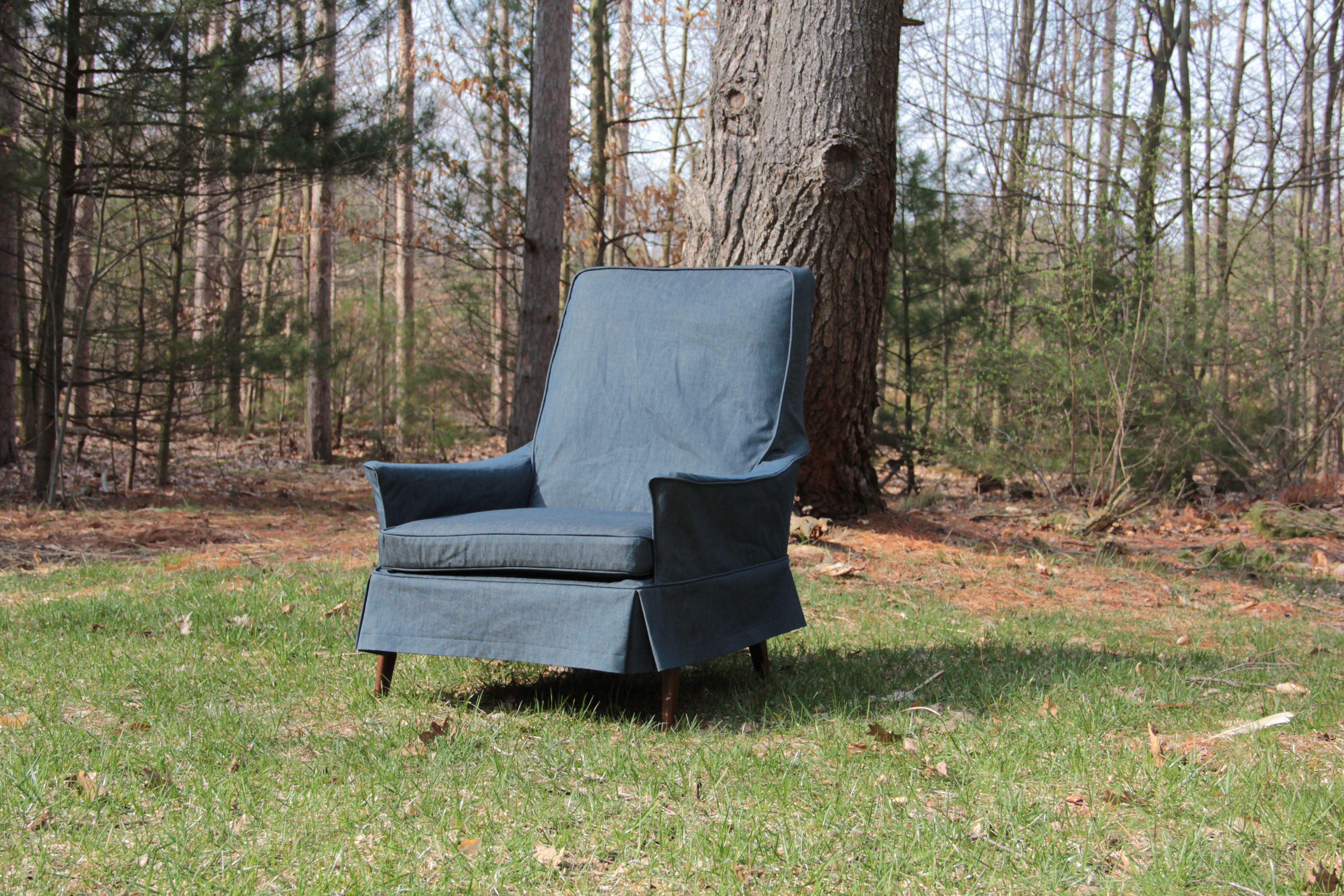 Denim chair slipcover Slipcovers for chairs, Slipcovers