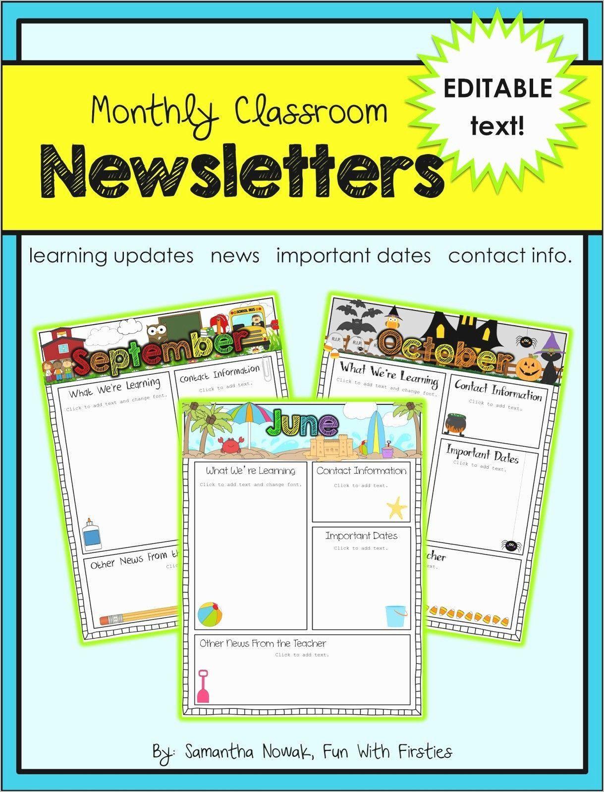 Free Editable Newsletter Templates Luxury Free Editable