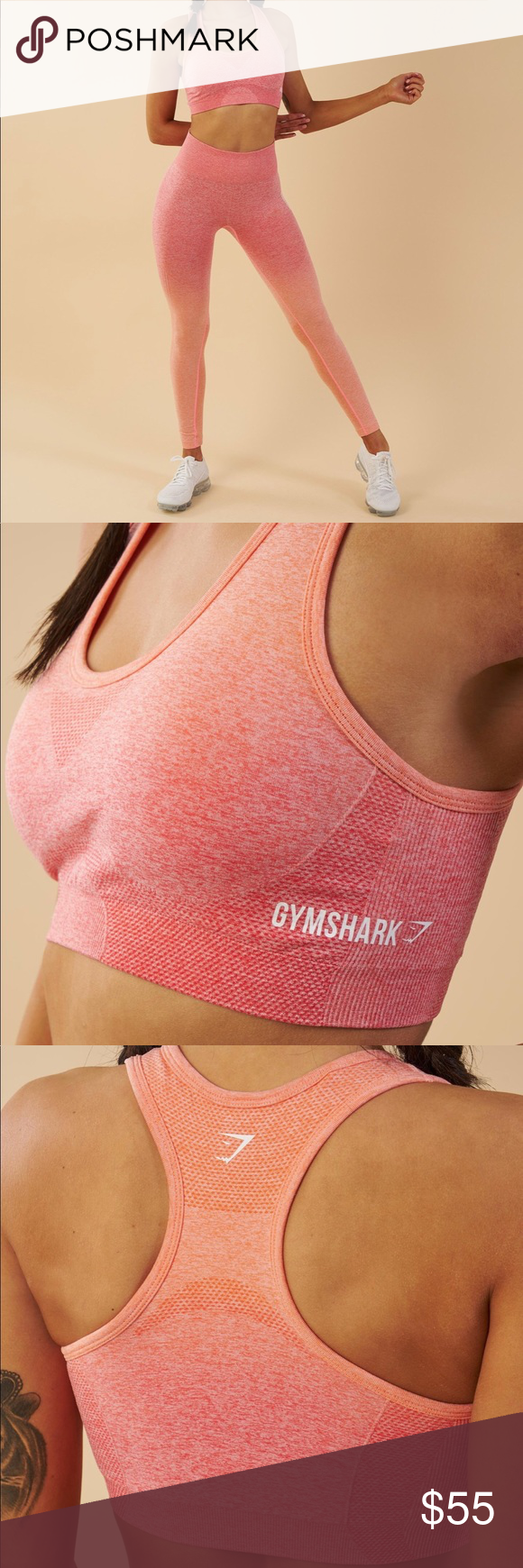 2a95cf06cf GYMSHARK - OMBRE SEAMLESS SPORTS BRA PEACH CORAL BRAND NEW Combining  beautiful design with innovative Seamless