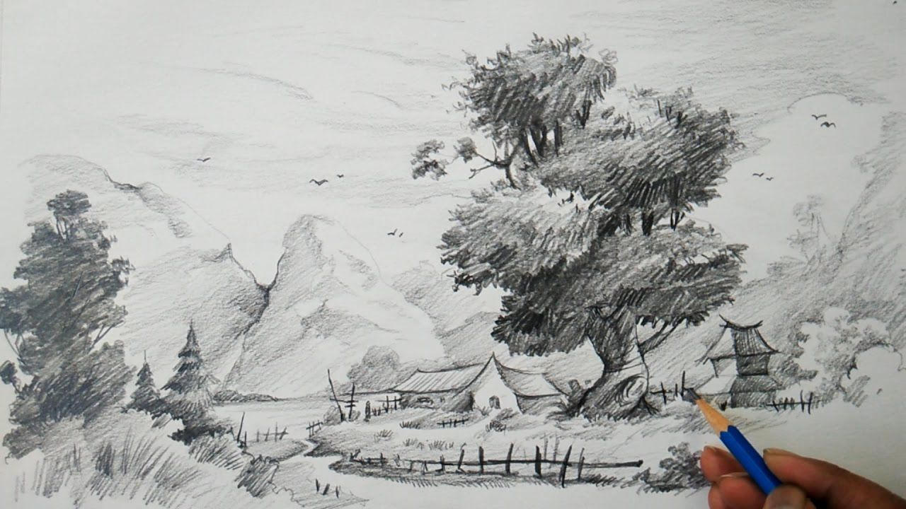 How To Learn Landscape With Easy Strokes Of Pencil For Children Pencil Landscape Sketch Drawings Cool Landscapes
