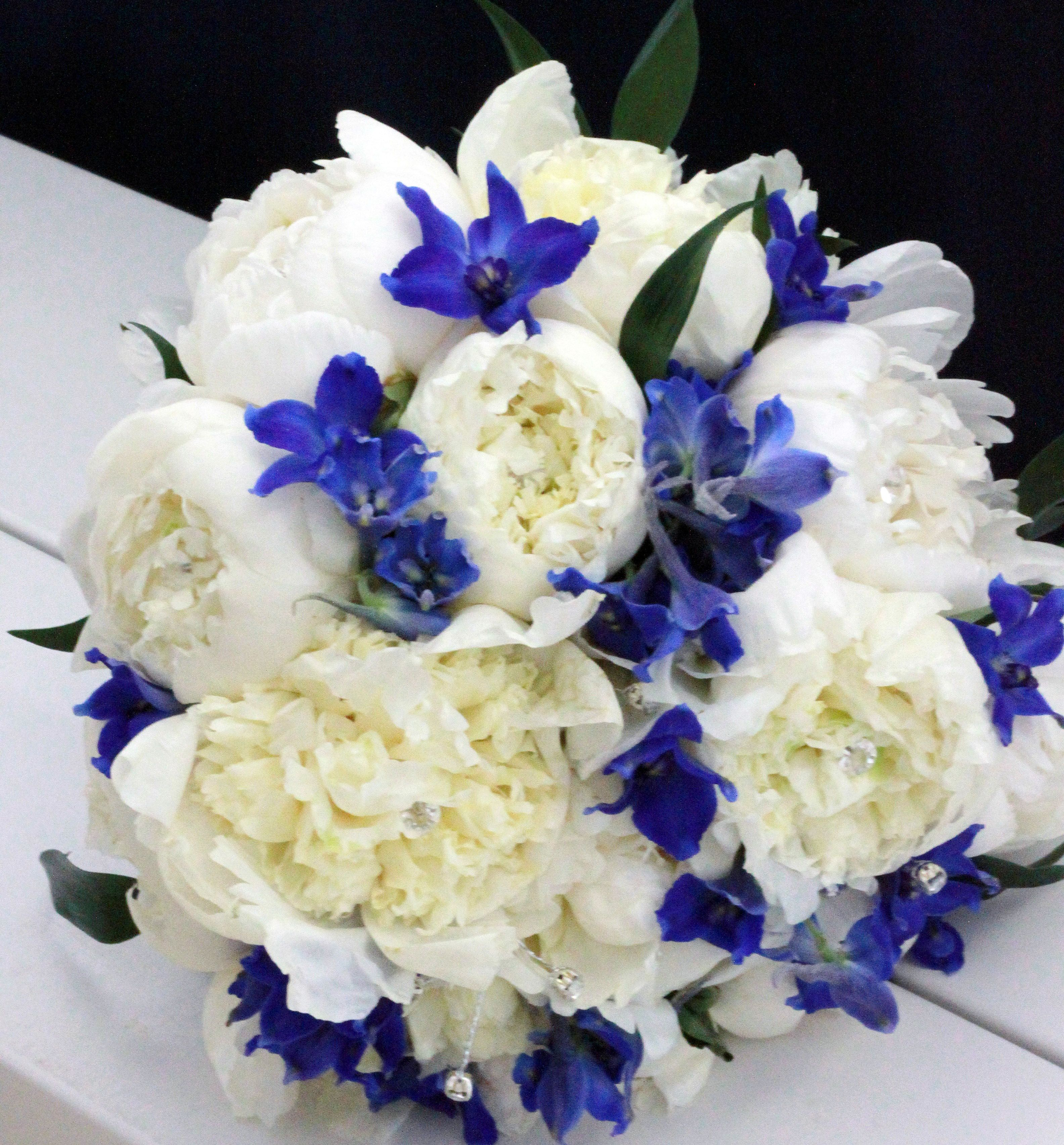 White peonies and blue delphinium bouquet bouquets for White and blue flower bouquet