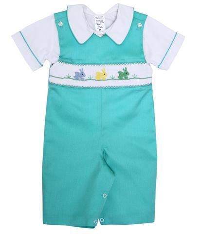 81b1cea91275 Boys Longalls Overalls with the Smocked Easter Bunny--Carousel Wear - 1