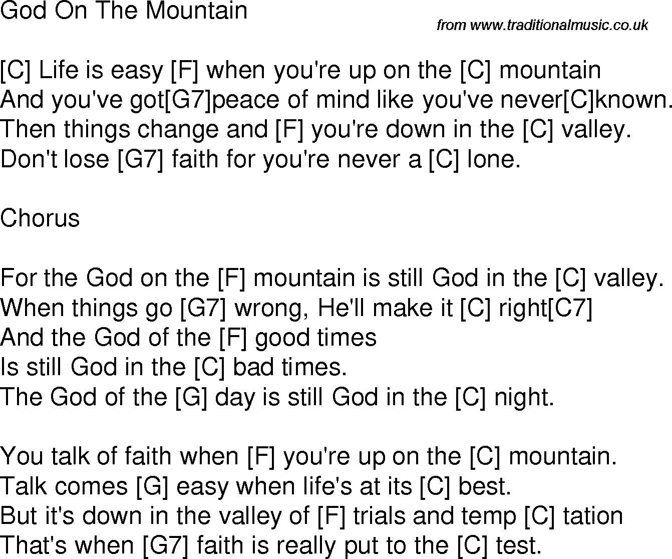 Old time song lyrics with chords for god on the mountain c hymns old time song lyrics with chords for god on the mountain c stopboris Gallery