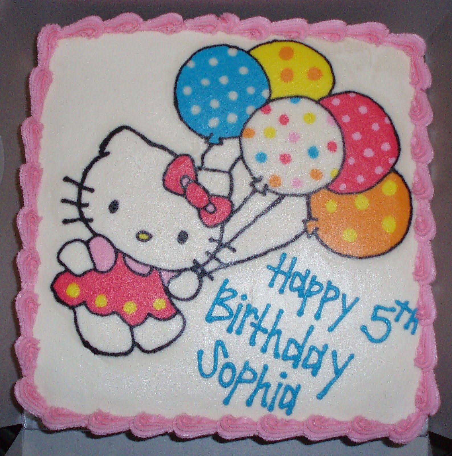 Fabulous Hello Kitty Cake With Balloons Hello Kitty Birthday Cake Hello Birthday Cards Printable Benkemecafe Filternl